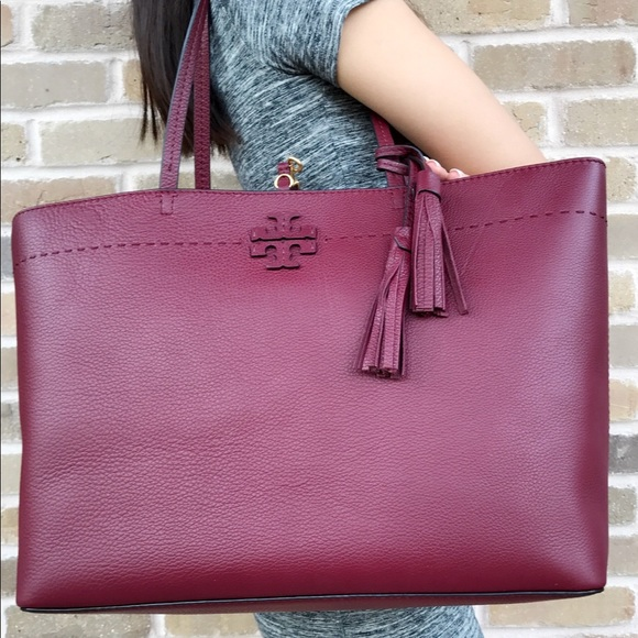 80af82cd0 Tory Burch Bags | Nwt Mcgraw Leather Large Tote Burgundy | Poshmark